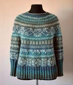 Купить Пуловер оверсайз с жаккардовым рисунком - морская волна, натуральная шерсть, теплый свитер, кауни Fair Isle Knitting, Lace Knitting, Knit Crochet, Punto Fair Isle, Knit Stranded, Fair Isle Pattern, Pullover, Knitting Designs, Beading Patterns