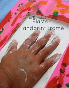 How to make a plaster handprint frame! Perfect for Mothers day! www.skiptomylou.org #crafts #mothersday #diy
