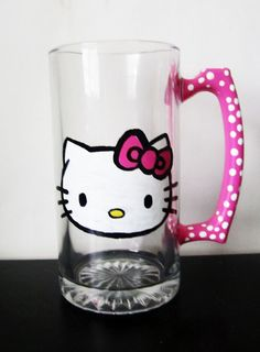 Hello Kitty Beer mug - Pink handle with white polka dots. $20.00, via Etsy.