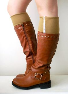 NEW CAMEL Brown Jersey Boot Cuffs with White Trim by stunninglooks, €12.99