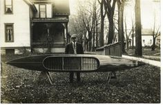 Sidney Rushton, son of J. Henry, with a custom canoe for a Canadian client.