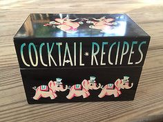 Vintage PINK ELEPHANT Cocktail ALCOHOL Drinks BAR Recipes Box - Mayfair Company