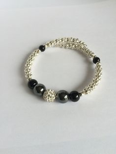 Beautiful Wraparound Bracelet with Hematite and Shamballa Beads by CristalliDesigns on Etsy Wrap Around, Gifts For Her, My Etsy Shop, Beaded Bracelets, Beads, Trending Outfits, Unique Jewelry, Handmade Gifts, Shopping
