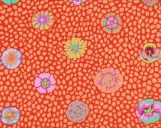"""Patchworkstoff """"Guinea Flower"""" mit Blüten auf Tupfen-Grund, rot-aprikot"""