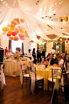 The Canterbury Place: Bridal Show Rundown: Ceiling Decor Paper Wedding Decorations, Engagement Party Decorations, Wedding Paper, Reception Decorations, Flower Decorations, Our Wedding, Dream Wedding, Spring Wedding, Mexican Paper Flowers