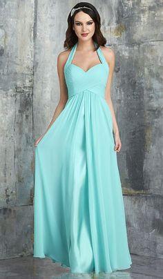 Bari Jay 553 Halter Shirred Long Bridesmaid Dress at frenchnovelty.com