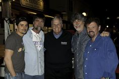 "Brad Paisley, Teddy Gentry, Rick Hendrick, Randy Owen, and Jeff Cook on the set of Brad's video, ""Old Alabama"""