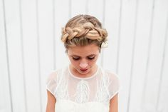 Braided crown with baby's breath hairstyle - bride and short sleeve wedding dress   fabmood.com #rooftopwedding #bridalhairstyle #braided