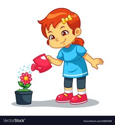 Girl watering her flower plant vector image on VectorStock Plant Illustration, Cute Illustration, Learning English For Kids, Printable Preschool Worksheets, Kids Background, Class Games, School Clipart, Storybook Characters, Plant Vector