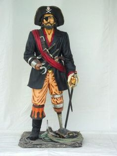 Peg Leg Pirate Statue Captain Hook Life Size For Sale Bad Eggs, Life Size Statues, Walking The Plank, Express Fashion, Facts You Didnt Know, Wooden Leg, Pirate Life, Jolly Roger, Black Animals