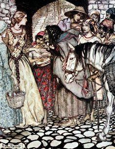 Art by Arthur Rackham (c 1919) from the book, SOME BRITISH BALLADS - &;Gypsie laddie