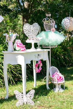 """""""Tu Tu Sweet Ballerina"""" themed birthday party with white, pink and mint green colors... pretty!"""