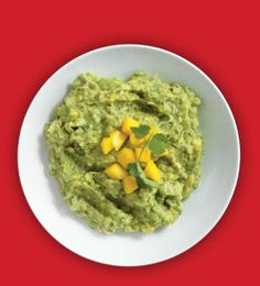 Mango Guacamole. 3 ripened avocados, 1 ripened mango (peeled and diced), 1/4 cup lime juice, 1/2 cup cilantro (finely chopped), 1/2 cup white onion (finely chopped), 3 tsp salt. In a molcajete, add half of the diced mangos and mash with the pestle into a pulp. Then add one avocado and mash into a pulp with the mango. In a separate bowl, mix remaining ingredients, including mango, and add more lime juice if needed. Fold mixture with pulp inside molcajete and serve with tortilla chips.