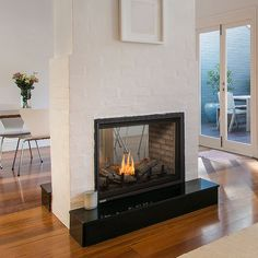 Montigo See Through Direct Vent Gas Fireplace Double Sided Gas Fireplace, Direct Vent Gas Fireplace, Vented Gas Fireplace, Gas Fireplace Logs, Home Fireplace, Fireplace Remodel, Fireplace Inserts, Living Room With Fireplace, Fireplace Design