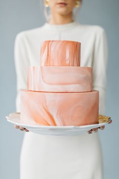 Pink Marble Wedding Cake by Flour and Flourish....x