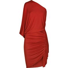 Ruched asymmetric jersey dress (7302520 PYG) ❤ liked on Polyvore featuring dresses, haljine, red, vestidos, women, red jersey dress, fitted dresses, red dress, cocktail draped dress and red ruched dress