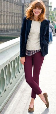 Plum jeans, navy blazer, plaid shirt or blue checked shirt, white sweater, smoking slippers or olive flats.