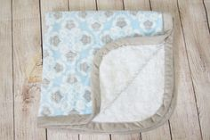 b4d561738e Blankets  amp  Beyond Owl Gray Blue Brocade Soft Square White Sherpa Baby  Blanket  BlanketsBeyond