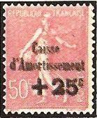 """1929 - Seminatrice su fondo a linee - Soprastampato """"Cassa d'Ammortamento"""" - 50 c. + 25 c."""