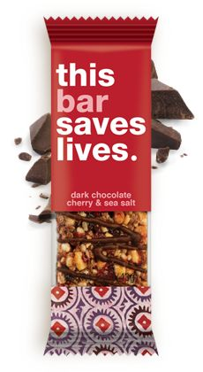 Every bar you buy they donate a life-saving food packet over seas!! Dark Chocolate Cherry & Sea Salt #thisbar #thisbarsaveslives