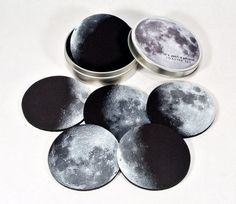 Moon Phases coaster set Its just a Phase GEEKY astronomy night sky 6 six coasters in matching tin