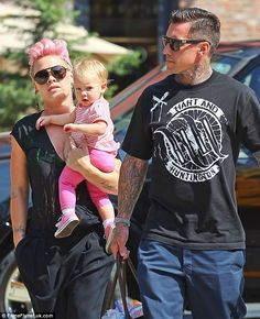 Pink -  The singer was seen in New York with daughter Willow and husband Corey Hart (right) on July 11
