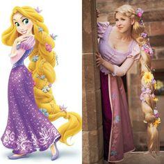 Halloween Rapunzel Kostüm, Make-up und Perücke mit Blumen