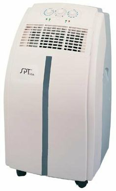 """Free Standing SPT 10,000 BTU Portable Air Conditioner by SPT. $499.95. Portable air conditioner measures 30"""" high x 16"""" wide x 15"""" deep, includes full thermostatic control. 2 fan speeds for fast or normal cooling, extendable exhaust hose up to 5 feet, and casters for easy mobility. Remove moisture for personal comfort, and window adapter kit is included. Also easy clean activated carbon filters collect large dust particles and prevent bacteria build-up. 10,000 BTU cool..."""