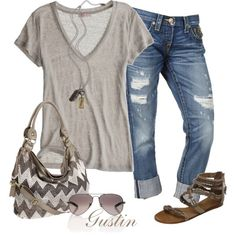 I love simple...capri jeans, created by stacy-gustin.poly...