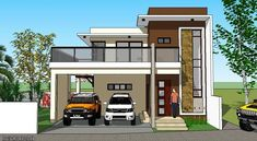 Modern 20 - House Designer and Builder Two Story House Design, 2 Storey House Design, Duplex House Design, Dream Home Design, Modern House Design, Flat Roof Design, House Plans 2 Storey, 4 Bedroom House Designs, Modern House Facades