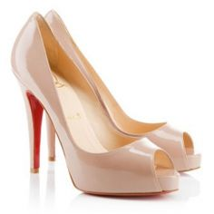Christian Louboutin Very Prive Patent Leather Peep Toe Pumps Nude 120mm