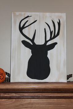 Painted Deer head on canvas