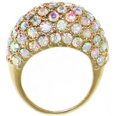 Gold Dome Ring with Ab Rhinestones, Size 8 In Gold with Ab Finish . $9.99