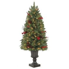 Martha Stewart Living 4 ft. Winslow Potted Artificial Christmas Tree with 100 Clear Lights-TV40P4598C00 - The Home Depot