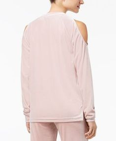 Material Girl Active Juniors' Love Velour Cold-Shoulder Top, Created for Macy's - Pink XXS