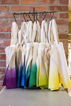spectrum totes at the Newport Beach Anthropologie | via Ruthi Auda's blog