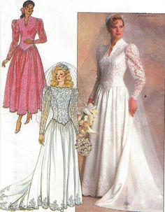1980s Wedding Dress Butterick Sewing Pattern 4646 by CloesCloset
