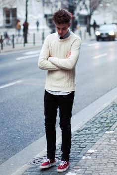white sweater and black pants #teenager #style #boys #winter