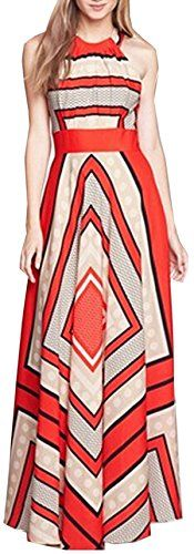 Shop Red Halter Self-Tie Striped Maxi Dress online. SheIn offers Red Halter Self-Tie Striped Maxi Dress & more to fit your fashionable needs. Chiffon Maxi Dress, Striped Maxi Dresses, Red Maxi, Looks Plus Size, Soft Grunge, Dress Me Up, Dress Red, Look Fashion, Street Fashion