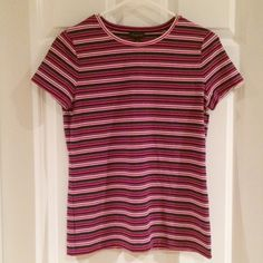 Talbots Striped Tee Sporty stripes add intrigue to your outfit. This tee looks great alone with a pair of jeans or layered under a jacket or cardigan. Talbots Tops Tees - Short Sleeve