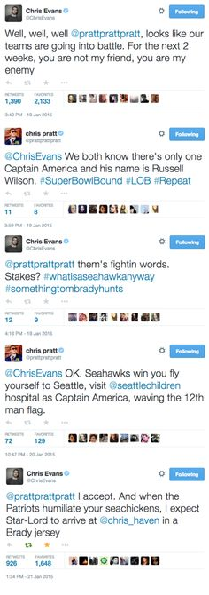 chris pratt and chris evans tweeting about superbowl stakes