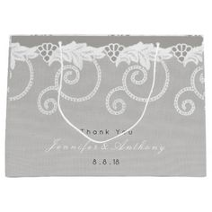 Personalized Gift Bag Gray Graphite White Lace