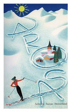 Arosa, Switzerland Vintage Ski Poster ~  ~ affiches de travel
