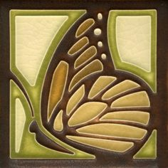4x4 Butterfly in Olive by Motawi Tileworks