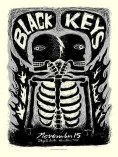 Shop for on Etsy, the place to express your creativity through the buying and selling of handmade and vintage goods. The Black Keys, Album Covers, Screen Printing, Houston, Blues, Skull, Toyota Center, Gallery, Unique Jewelry