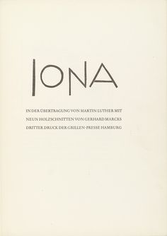Gerhard Marcks (German, 1889–1981) Title page from Jonah (Jona). (1950) One from an illustrated book with ten woodcuts (including duplicate of title page on front cover). Grillen-Presse, Hamburg. Designed and printed by Richard von Sichowsky, Hamburg