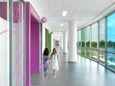 Each department or clinic follows a different Missouri-specific theme and has its own distinctive entry portal and color. Iconography matching these themes is used throughout each area, aiding in wayfinding. Photo: Alise O'Brien Photography