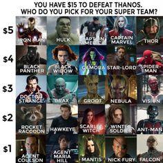 Tienes 15$ para defenderte de Thanos que super equipo eliges? #humor #memes #funny #divertido