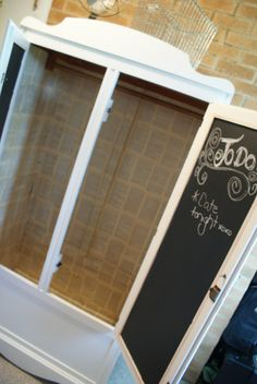 Shaggy Sheep Home    Paint the inside of wardrobe door with chalk paint and wallpaper the inside with old bookpages