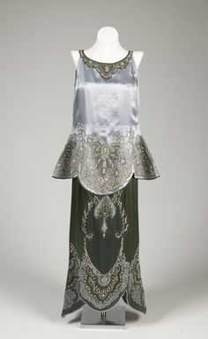 Evening ensemble: overblouse, underdress, scarf, and belt | Callot Soeurs | France | 1918 | Silk Satin, Glass Beads; Embroidery | de Young Museum; San Francisco Fine Arts Museum | Accession Number: 1985.40.19a-d